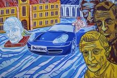 Paweł Kluza - Edward Dwurnik w swoim Porsche  - obraz olejny na płótnie
