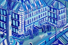 Paweł Kluza - Plac Zamkowy Niebieski - obraz olejny na płótnie